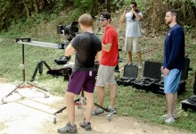 Setting up a dolly shot in the park that we ended up axing.